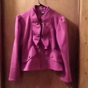 NWOT: Dots Fuchsia Buttons & Ruffles Zip Up Jacket